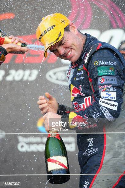 Craig Lowndes of Red Bull Racing Australia Holden celebrates winning race 30 for the Gold Coast 600 which is round 12 of the V8 Supercars...