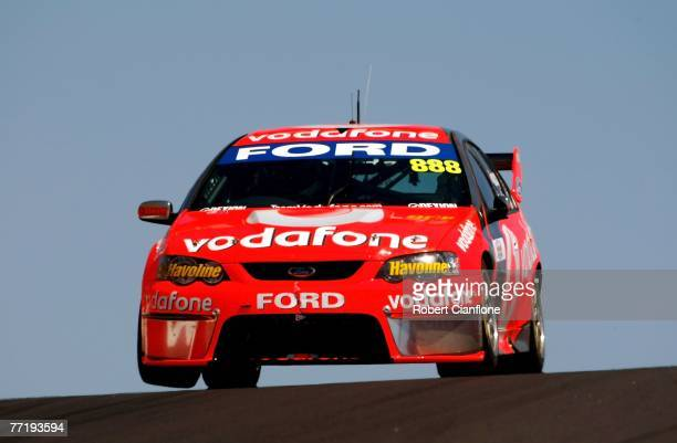 Craig Lowndes of Team Vodafone drives over Skyline during practice for the Bathurst 1000 which is round ten of the V8 Supercars Championship at the...