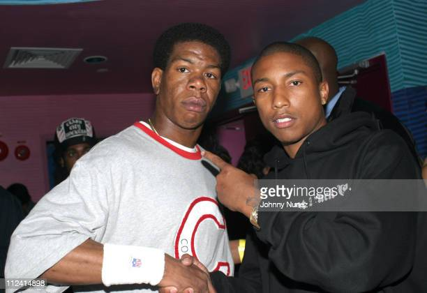 Craig Mack and Pharrell Williams during Star Trak Hosts Weekly Neptunes Party at the Coral Room at Coral Room in New York City New York United States