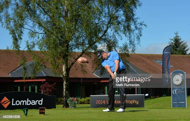 Craig Mackie of Scotscraig Golf Club on the 1st tee during the Lombard Trophy Scotland Regional Qualifier at Ladybank Golf Club on June 10 2014 in...