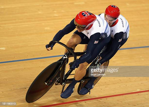 Craig Maclean and Anthony Kappes of Great Britain race in the Men's Individual B Sprint on day 4 of the London 2012 Paralympic Games at Velodrome on...
