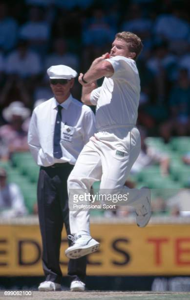 Craig McDermott bowling for Australia during the 5th Test match between Australia and England at the WACA Perth Australia 4th February 1995 The...