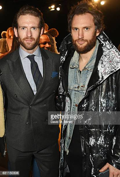 Craig McGinlay and Marc Jacques Burton attend the MCCVIII presentation during London Fashion Week Men's January 2017 collections at Institute Of...