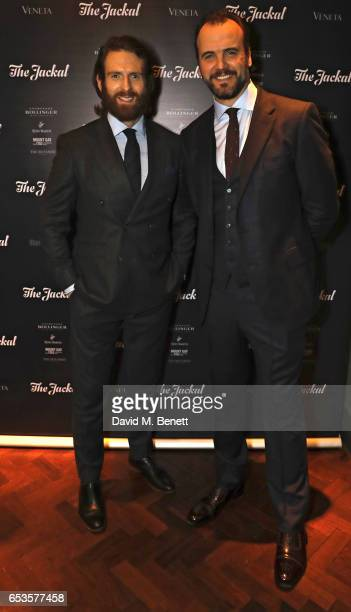 Craig McGinlay and Robin Swithinbank attend the launch of new men's magazine 'The Jackal' at Veneta on March 15 2017 in London England