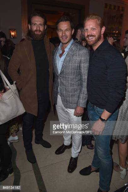 Craig McGinlay David Gandy and Alistair Guy attend the Aspinal of London presentation during London Fashion Week September 2017 on September 18 2017...