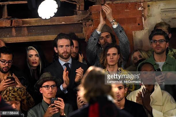 Craig McGinlay Ollie Proudlock Richard Biedul Dougie Poynter and Darren Kennedy attend the Agi Sam x The Woolmark Company show during London Fashion...