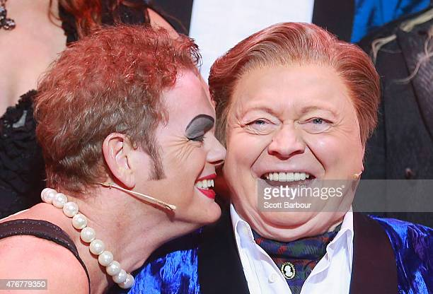Craig McLachlan as Frank N Furter and Bert Newton as the Narrator pose after performing during a 'Rocky Horror Show' Media Call at the Comedy Theatre...