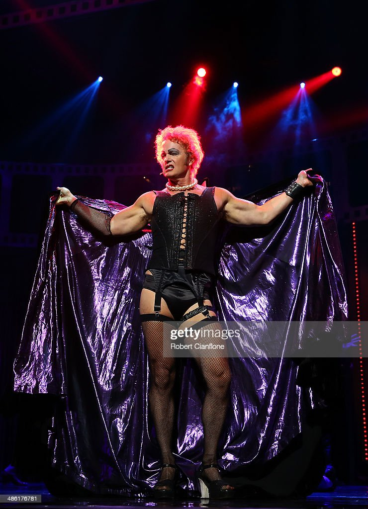 <a gi-track='captionPersonalityLinkClicked' href=/galleries/search?phrase=Craig+McLachlan&family=editorial&specificpeople=2198317 ng-click='$event.stopPropagation()'>Craig McLachlan</a> performs as the character Frank N Furter during a media call for the Rocky Horror Show at the Comedy Theatre on April 23, 2014 in Melbourne, Australia.