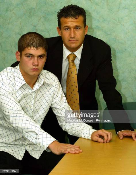 Craig McMillan with his lawyer Massimo Franchi during a press conference in Glasgow Scotland where Mr McMillan admitted that he was thoroughly...