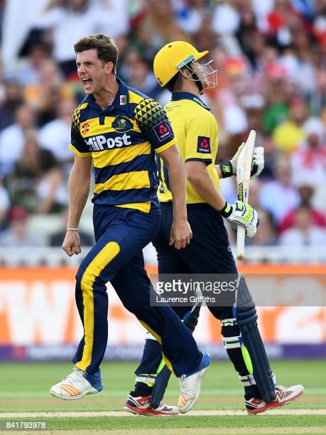 Craig Meschede of Glamorgan celebrates after dismissing Sam Hain of Birmingham during the NatWest T20 Blast SemiFinal match between Birmingham Bears...