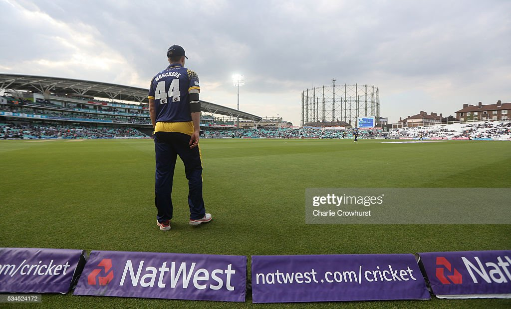 Craig Meschede of Glamorgan tends the boundary during the Natwest T20 Blast match between Surrey and Glamorgan at The Kia Oval on May 26, 2016 in London, England.