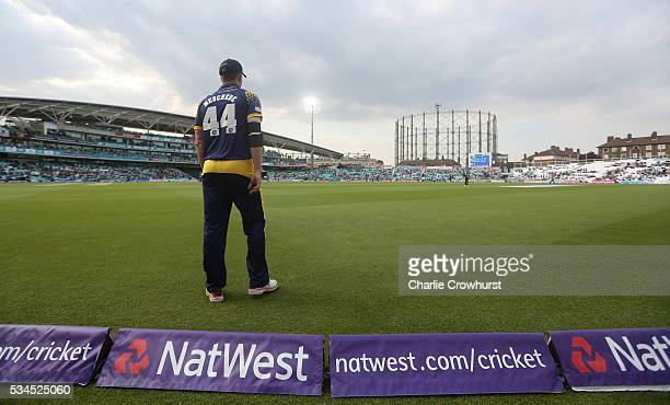 Craig Meschede of Glamorgan tends the boundary during the Natwest T20 Blast match between Surrey and Glamorgan at The Kia Oval on May 26 2016 in...