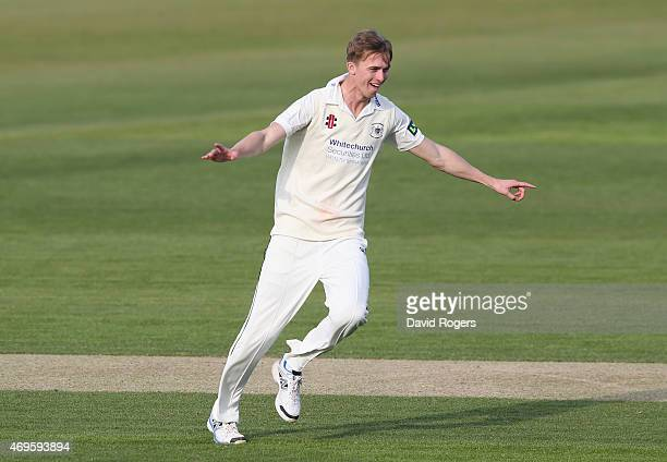 Craig Miles of Gloucestershire celebrates after taking the wicket of Richard Levi during the LV County Championship division two match between...