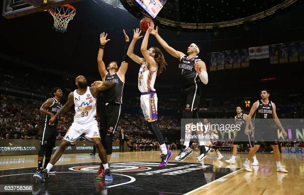 Craig Moller of the Kings shoots during the round 18 NBL match between the Sydney Kings and Melbourne United at Qudos Bank Arena on February 4 2017...