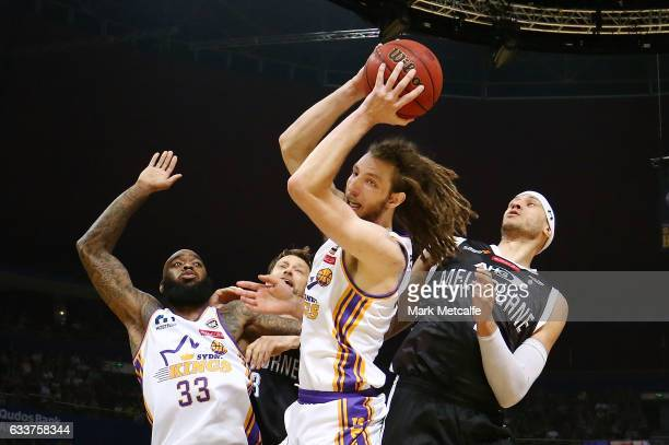 Craig Moller of the Kings takes a rebound during the round 18 NBL match between the Sydney Kings and Melbourne United at Qudos Bank Arena on February...