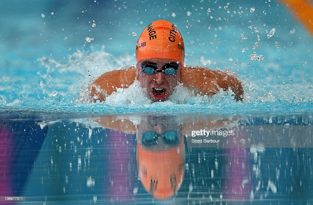 Craig Morgan of New South Wales competes in the Mens 100 Meter Butterfly Multi-Class Final during day two of the 2012 Victorian Open Championships at the Melbourne Sports and Aquatic Centre on January 14, 2012 in Melbourne, Australia.