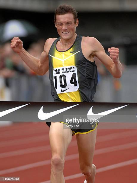 Craig Mottram of Australia celebrates after winning the two miles in the Prefontaine Classic at the University of Oregon's Hayward Field in Eugene...