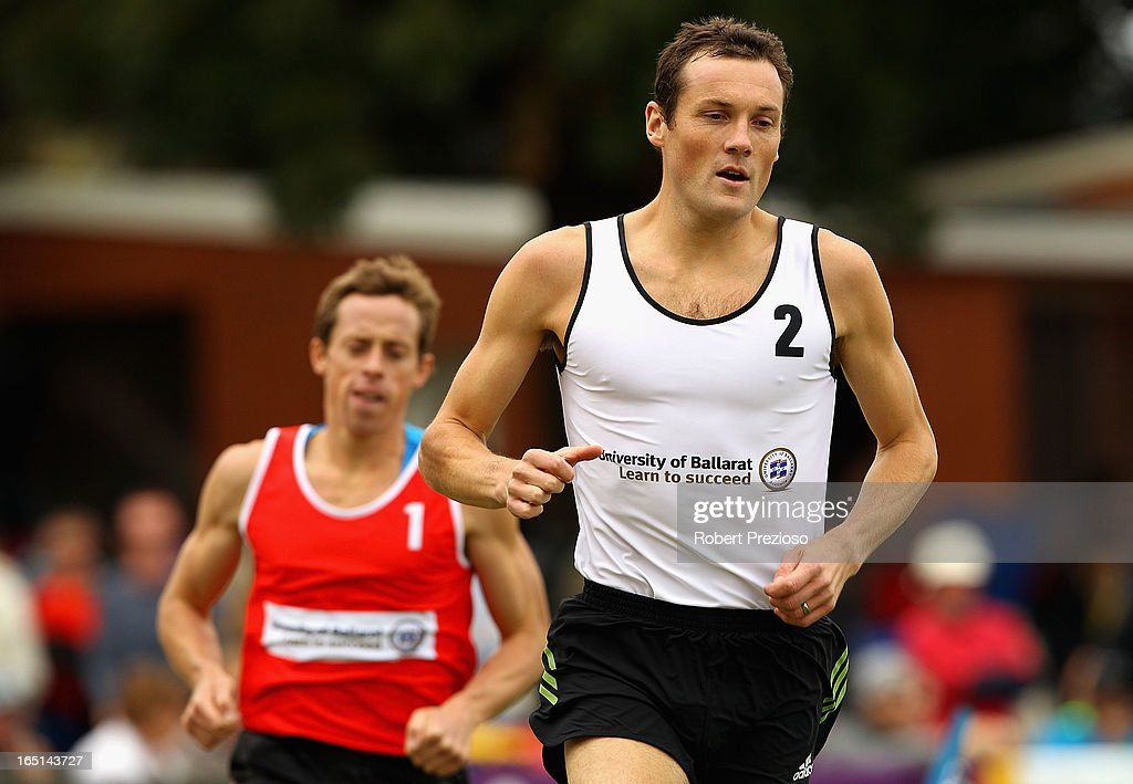 Craig Mottram of Richmond competes in the University of Ballarat Herb Hedemann Invitation Handicap 1600m Final during the 2013 Stawell Gift carnival at Central Park on April 1, 2013 in Stawell, Australia.
