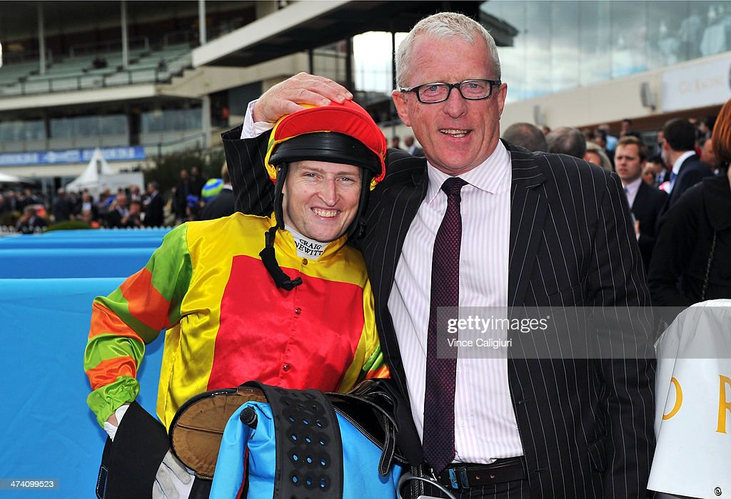 Craig Newitt and trainer Mick Price pose after Lankan Rupee won Race 8, the Sportingbet Oakleigh Plate during Blue Diamond Stakes Day at Caulfield Racecourse on February 22, 2014 in Melbourne, Australia.