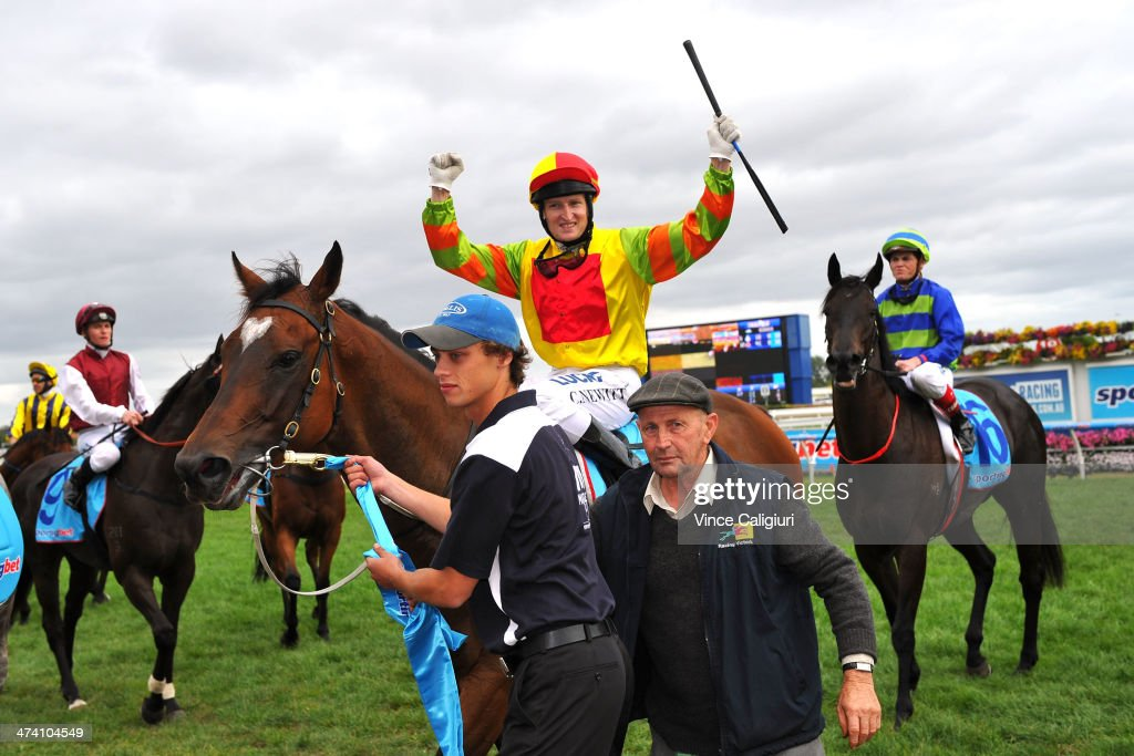 Craig Newitt celebrates after winning aboard Lankan Rupee in Race 8, the Sportingbet Oakleigh Plate during Blue Diamond Stakes Day at Caulfield Racecourse on February 22, 2014 in Melbourne, Australia.