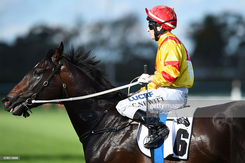 Craig Newitt riding Epic Moment after Race 5 during Melbourne Racing at Caulfield Racecourse on April 30, 2016 in Melbourne, Australia.