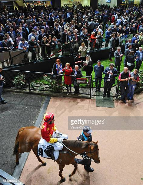 Craig Newitt riding Extreme Choice before winning Race 7 Moir Stakes during Melbourne racing at Moonee Valley Racecourse on September 30 2016 in...