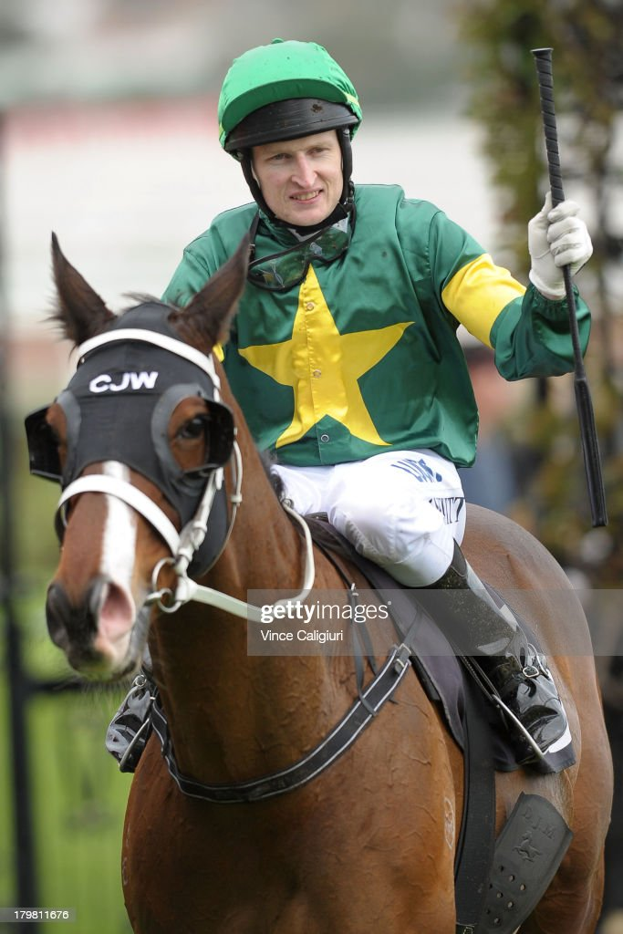 Craig Newitt riding Foreteller after winning the Makybe Diva Stakes during Melbourne racing at Flemington Racecourse on September 7, 2013 in Melbourne, Australia.