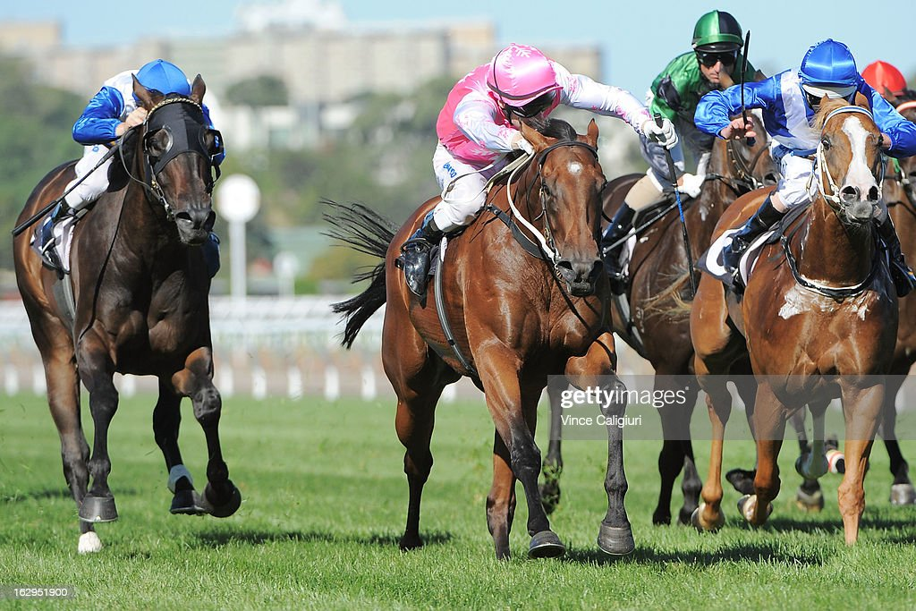 Craig Newitt riding Isabella Snowflake (CTR) wins the ATA/Bob Hoysted Handicap during Melbourne Racing at Flemington Racecourse on March 2, 2013 in Melbourne, Australia.