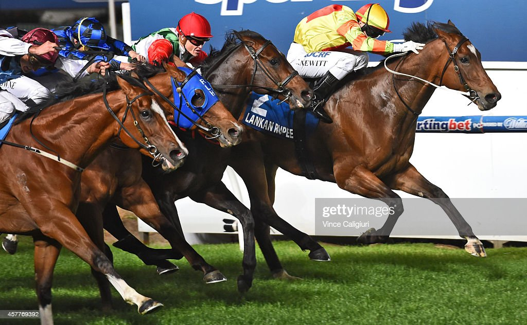 Craig Newitt riding Lankan Rupee is first past the post before correct weight (protest pending) in Race 7, the Sportingbet Manikato Stakes during Manikato Stakes Night at Moonee Valley Racecourse on October 24, 2014 in Melbourne, Australia.