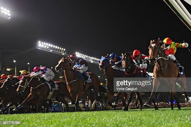 Craig Newitt riding Lankan Rupee is first past the post before correct weight in Race 7 the Sportingbet Manikato Stakes during Manikato Stakes Night...