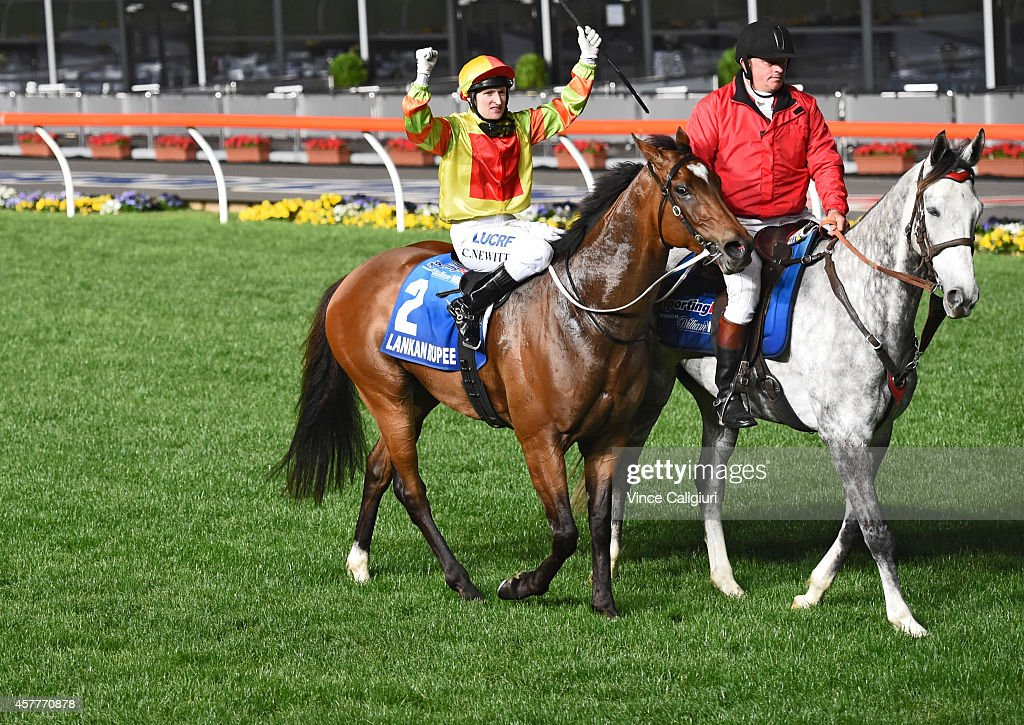 Craig Newitt riding Lankan Rupee reacts after winning Race 7, the Sportingbet Manikato Stakes during Manikato Stakes Night at Moonee Valley Racecourse on October 24, 2014 in Melbourne, Australia.