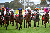 Craig Newitt riding Mefnooda defeats Damien Oliver riding Kansus Sunflower in Race 5 during Melbourne Racing at Caulfield Racecourse on April 23 2016...