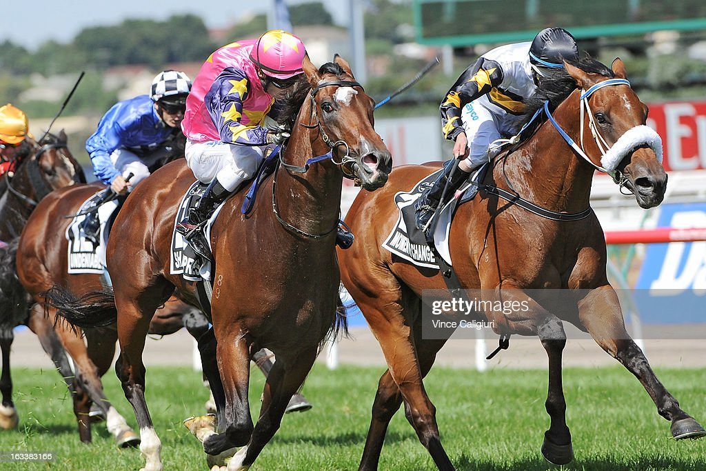 Craig Newitt riding Shamexpress (L) wins from <a gi-track='captionPersonalityLinkClicked' href=/galleries/search?phrase=Luke+Nolen&family=editorial&specificpeople=2190756 ng-click='$event.stopPropagation()'>Luke Nolen</a> riding Moment of Change in the Lexus Newmarket Handicap during Super Saturday at Flemington Racecourse on March 9, 2013 in Melbourne, Australia.
