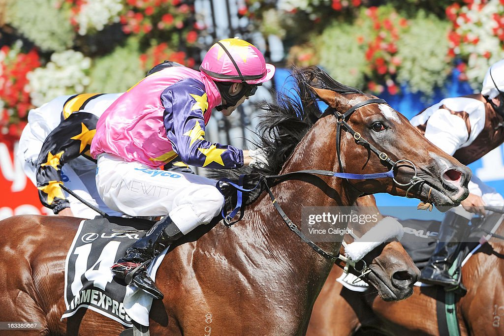 Craig Newitt riding Shamexpress wins the Lexus Newmarket Handicap during Super Saturday at Flemington Racecourse on March 9, 2013 in Melbourne, Australia.