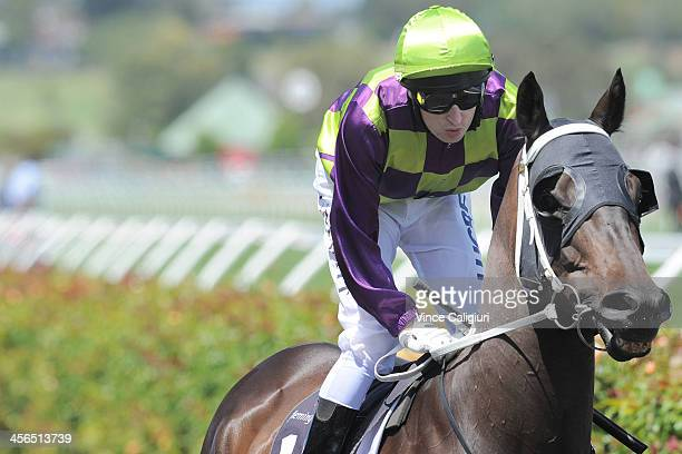 Craig Newitt riding Too Deadly heads to the start of Race 4 the Johnstaff Projects Handicap during Melbourne Racing at Flemington Racecourse on...