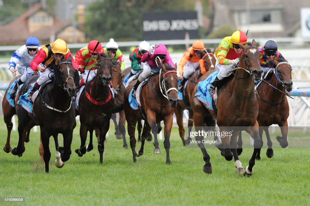 Craig Newitt winning aboard Lankan Rupee in Race 8, the Sportingbet Oakleigh Plate during Blue Diamond Stakes Day at Caulfield Racecourse on February 22, 2014 in Melbourne, Australia.