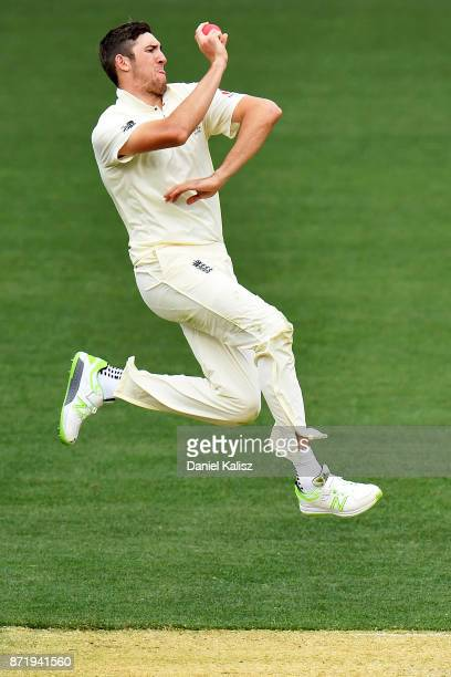 Craig Overton of England bowls during day two of the Four Day Tour match between the Cricket Australia XI and England at Adelaide Oval on November 9...