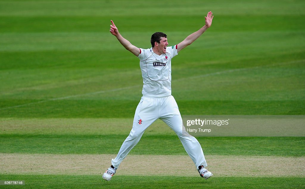 Craig Overton of Somerset appeals during Day One of the Specsavers County Championship Division One match between Somerset and Lancashire at the County Ground on May 01, 2016 in Somerset, United Kingdom.