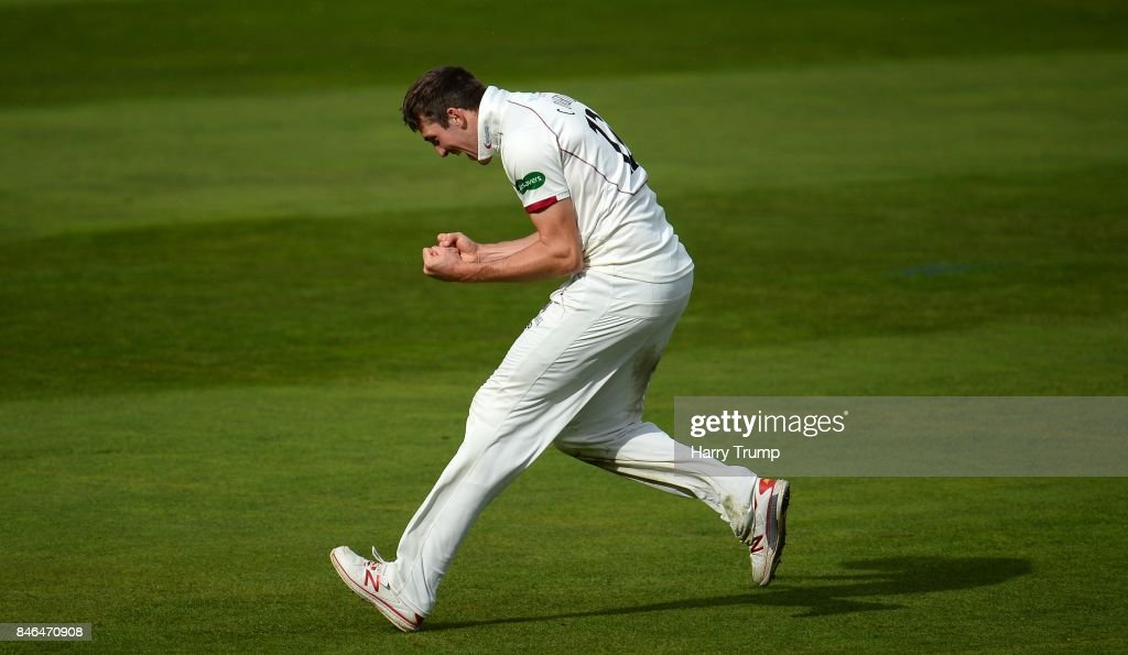 Craig Overton of Somerset celebrates after dismissing Steven Croft of Lancashire during Day Two of the Specsavers County Championship Division One match between Somerset and Lancashire at The Cooper Associates County Ground on September 13, 2017 in Taunton, England.