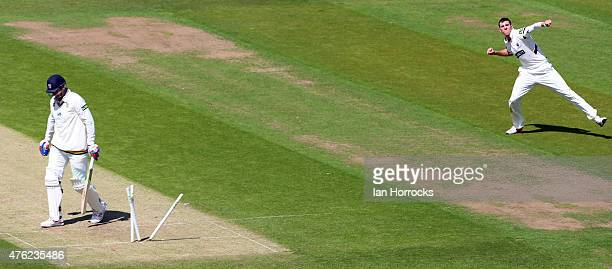 Craig Overton of Somerset clean bowls John Hastings of Durham during the LV County Championship Division One match between Durham CCC and Somerset...