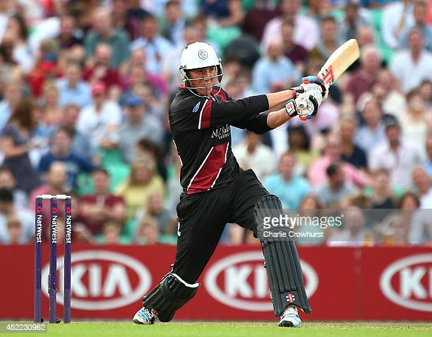 Craig Overton of Somerset hits out during the Natwest T20 Blast match between Surrey and Somerset at The Kia Oval on July 16 2014 in London England