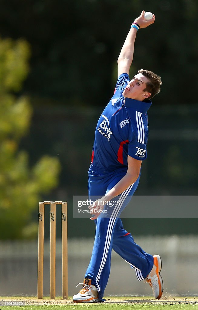 Craig Overton of the England Lions bowls during the International tour match between the Victorian 2nd XI and the England Lions at Junction Oval on February 7, 2013 in Melbourne, Australia.