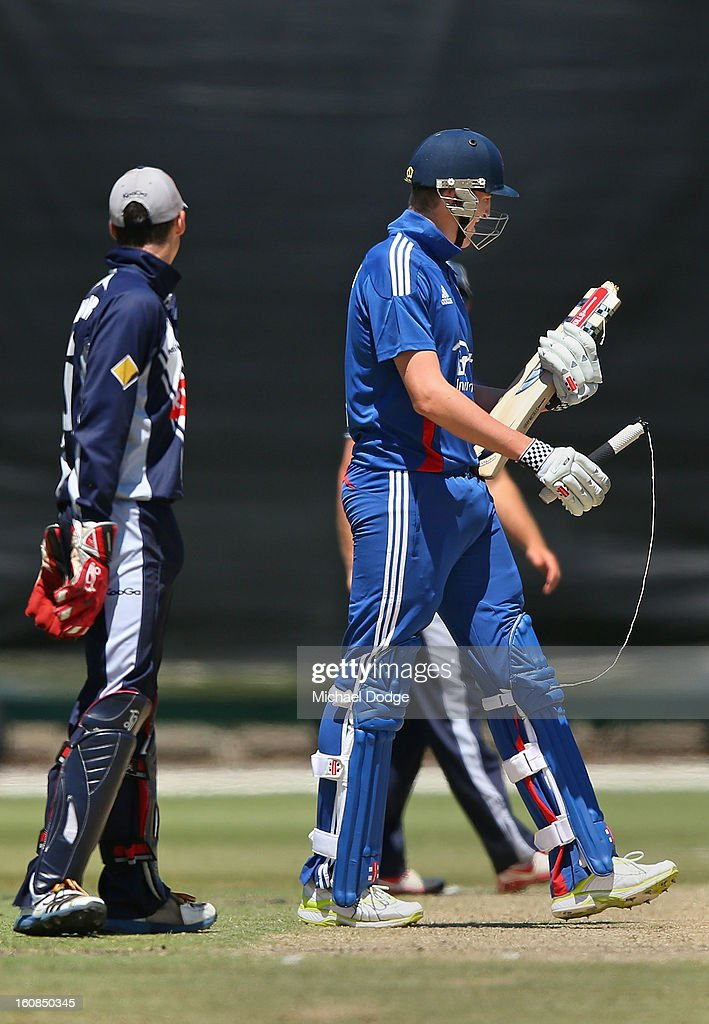 Craig Overton of the England Lions looks at his broken bat during the International tour match between the Victorian 2nd XI and the England Lions at Junction Oval on February 7, 2013 in Melbourne, Australia.