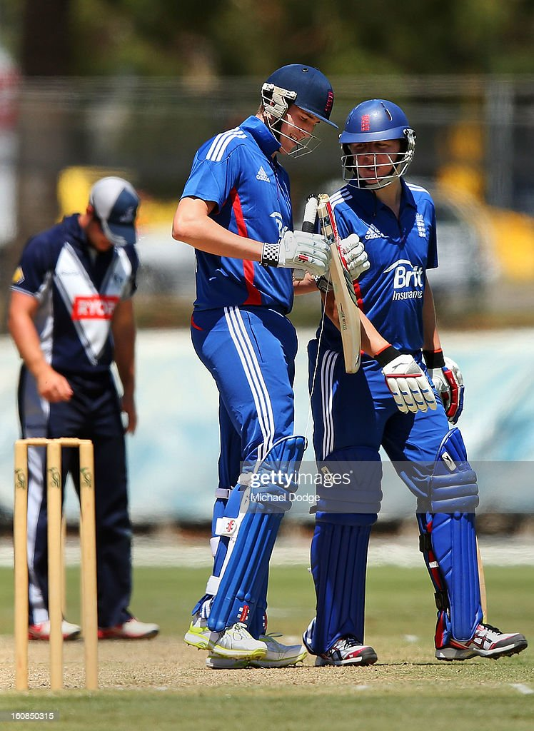 Craig Overton of the England Lions shows his broken bat to Garry Balance during the International tour match between the Victorian 2nd XI and the England Lions at Junction Oval on February 7, 2013 in Melbourne, Australia.