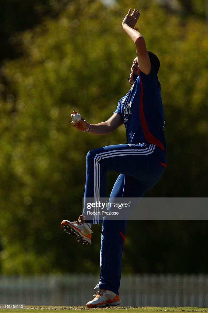 Craig Overton of the Lions bowls during the International Tour match between the Victoria Bushrangers and England Lions at Junction Oval on February 11, 2013 in Melbourne, Australia.