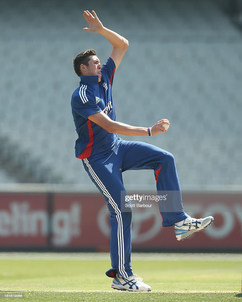 Craig Overton of the Lions bowls during the international tour match between Victoria and the England Lions at the Melbourne Cricket Ground on February 13, 2013 in Melbourne, Australia.