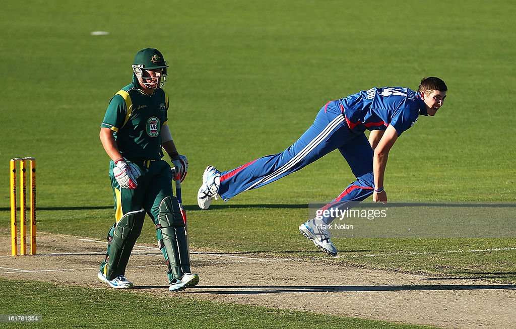 Craig Overton of the Lions bowls during the international tour match between Australia 'A' and the England Lions at Blundstone Arena on February 16, 2013 in Hobart, Australia.