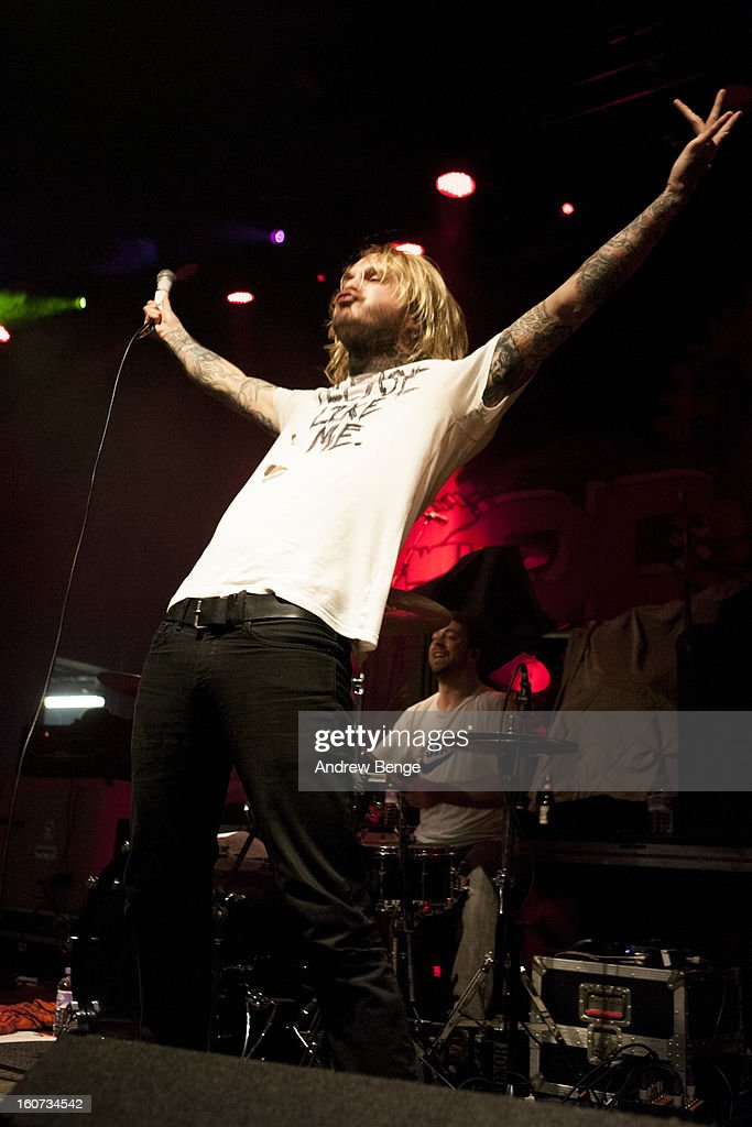 Craig Owens of Chiodos perform on stage as part of the Kerrang! Tour 2013 at Manchester Academy on February 4, 2013 in Manchester, England.