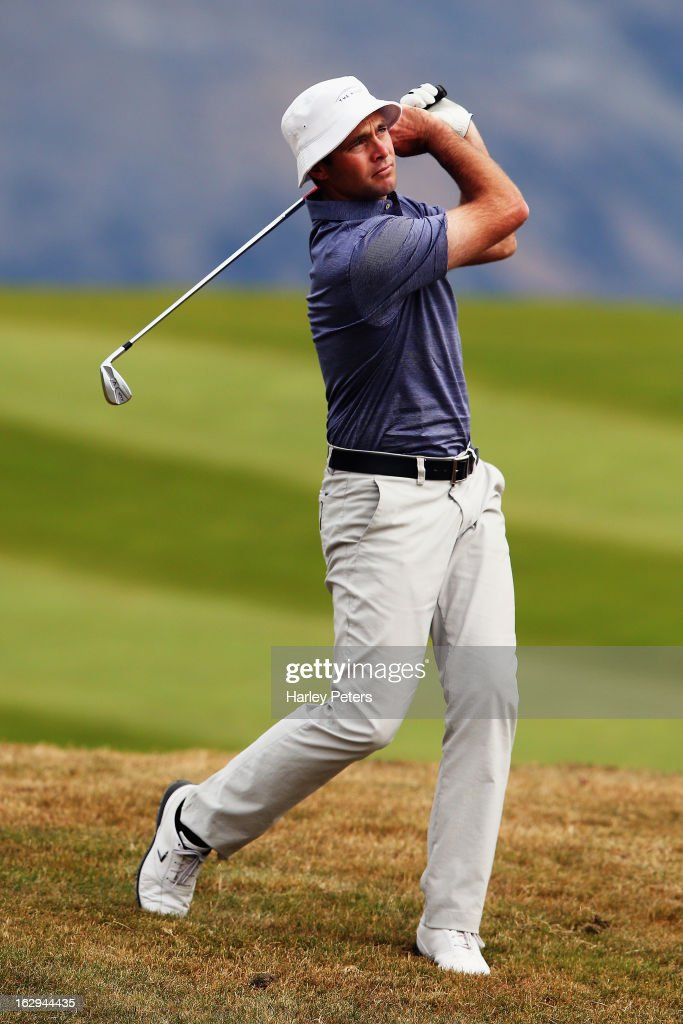 Craig Palmer of New Zealand plays a shot during day three of the New Zealand PGA Championship at The Hills Golf Club on March 2, 2013 in Queenstown, New Zealand.