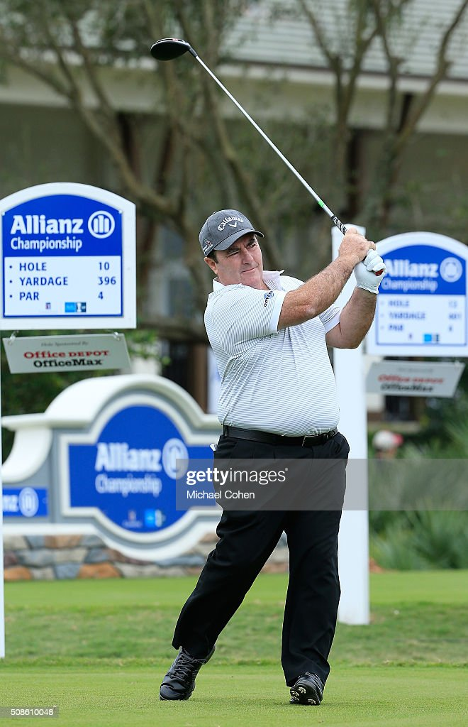 Craig Parry of Australia hits a drive during his debut round on the PGA TOUR Champions during the first round of the Allianz Championship held at The...